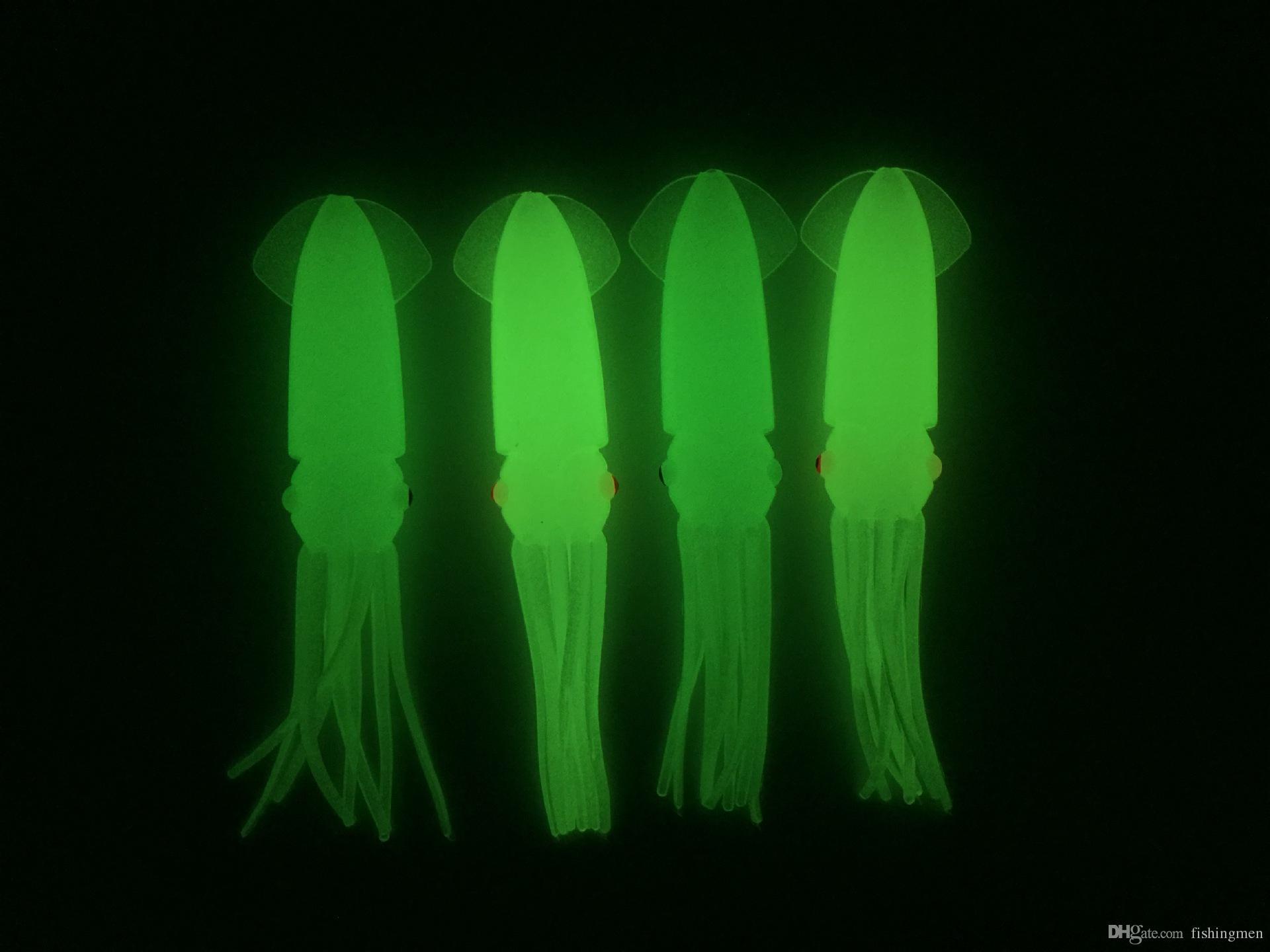 / vente chaude 4,3 pouces B2 pêche en plastique souple Octopus corps calmar corps lumineux lumineux leurres lueur en noir