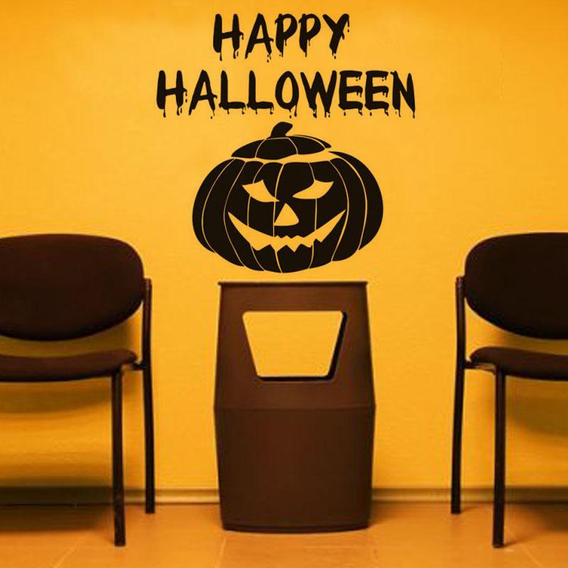 High Quality Happy Halloween Pumpkin Mask Wall Stickers Vinyl Diy ...