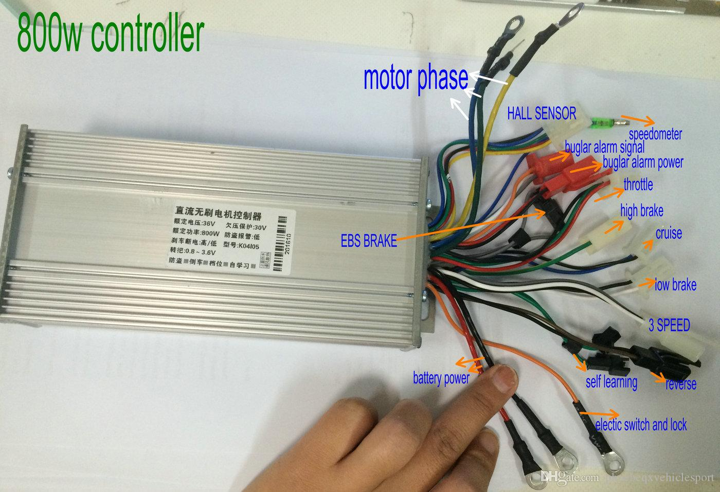 2018 36v48v60v64v800w1000w Bldc Motor Controller 15mosfet With Ebs Trike Wiring Diagram 3speed Reverse For Electric Scooter Bike Tricycle Pedicab Pedal From