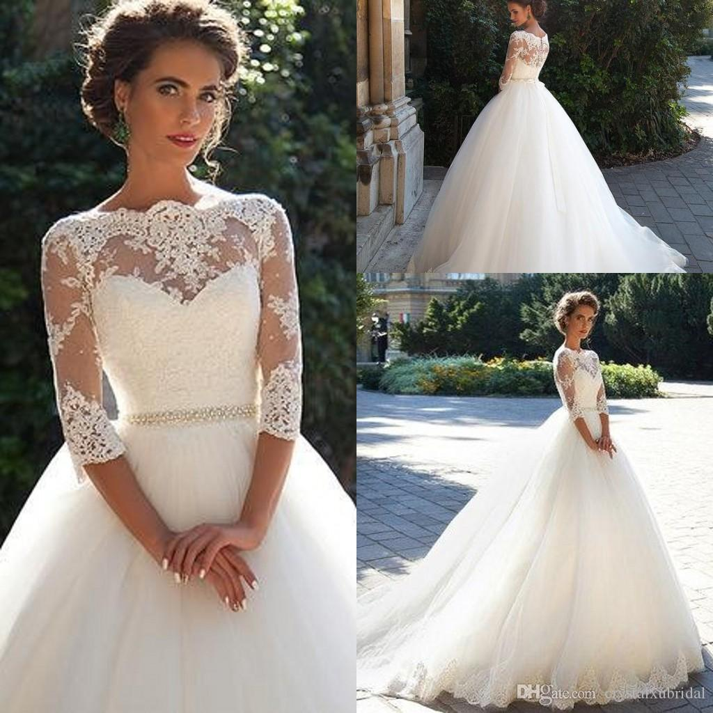 Discount 2018 Vintage Cheap Wedding Dresses Bateau Neck Three