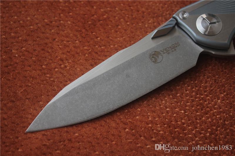 Ücretsiz nakliye, Kevin John VENOM 4 Kanat M390 KATı Titanyum Flipper katlama bıçak seramik rulman kamp avcılık pocket knife EDC araçları
