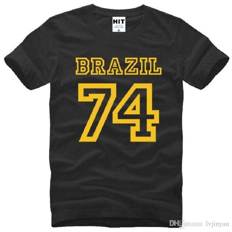 New Summer Brazil 74 T Shirts Men Cotton Short Sleeve O-Neck Printed Men's T-Shirt Fashion Male Sport Top Tees Fitness Clothing
