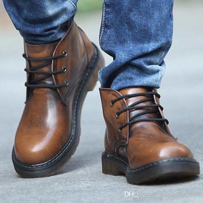 Good Quality Men Shoes Winter Boots Retro Genuine Leather
