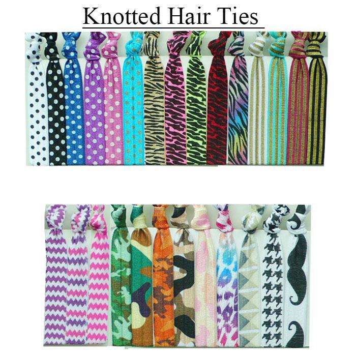 2017 Girls Women Glitter Knotted Hair Ties Elastic Pony Hair Holders Gum For Hair Scrunchy Polka Dots Chevron Camo Zebra Printing
