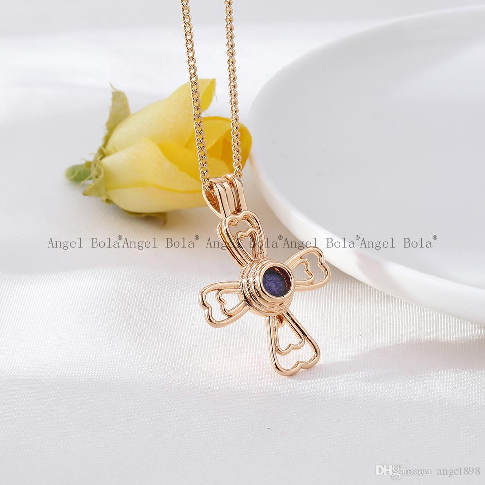 5Wholesale 3 Styles in stock 18kgp Fashion Jesus bless the cross cages DIY pearl /gem beads locket cages Pendant necklace