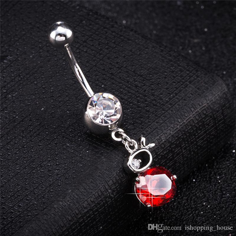 18K White Gold Plated Sexy Piercing Body Jewelry Belly Button Charm Rabbit Navel Rings Body Piercing Jewelry Dangle for Women BR-263