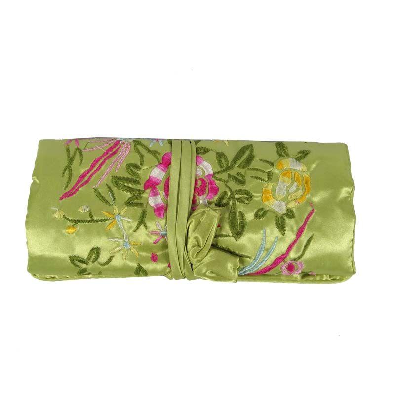 Silk Embroidery Flower Bird Travel Roll Bag Chinese Wind Silk Pouch 3 Zipper Necklace Ring Bar Bracelet Storage Organizer Bag 10*20