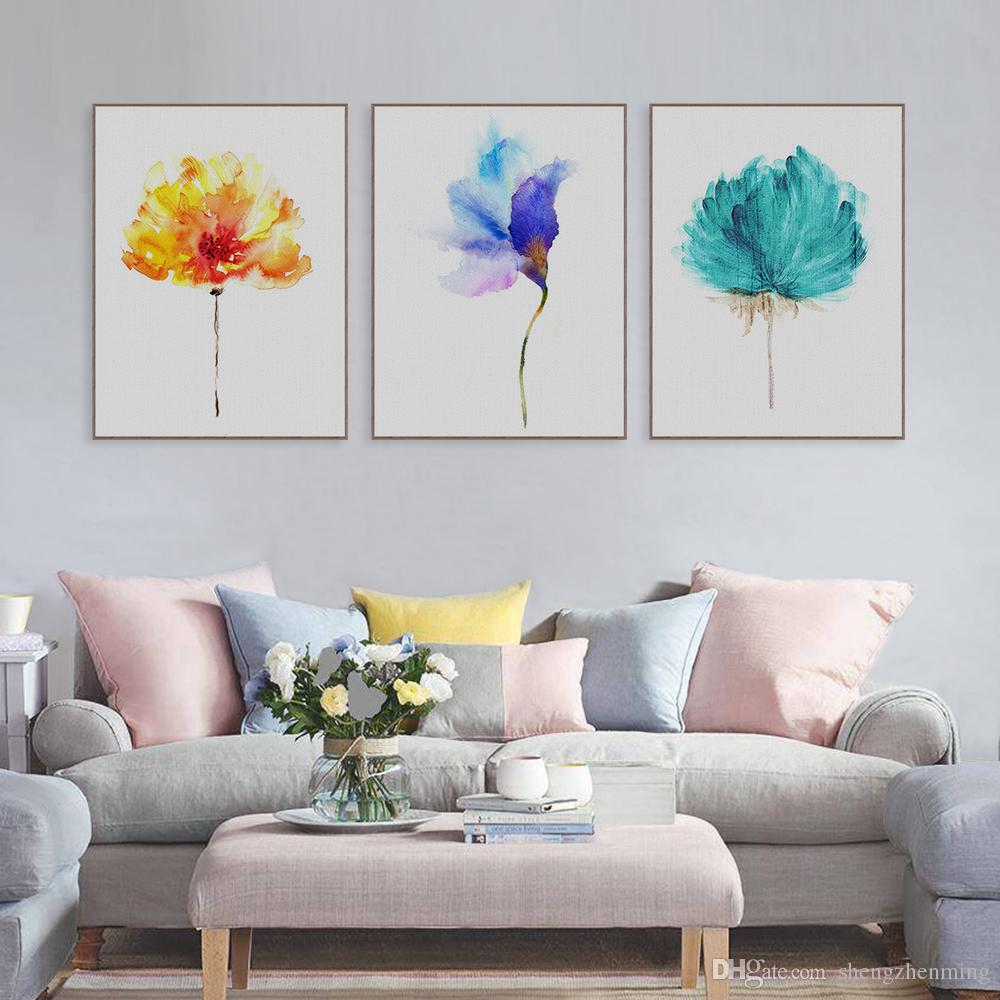 living room art prints. 2018 Original Watercolor Beautiful Colorful Flower Canvas A4 Art Print  Poster Nordic Wall Picture Living Room Decor Painting No Frame From Shengzhenming