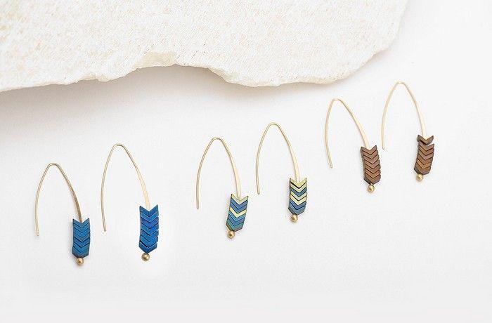 الذهب مطلي السهم تصميم أقراط الحجر الطبيعي هندسة أقراط طويلة للنساء مجوهرات بوهو شرابة القرط YC