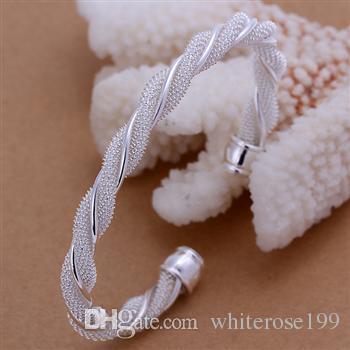 Partihandel - Retail Lägsta pris Julklapp, Gratis frakt, Ny 925 Silver Fashion Bracelet B020