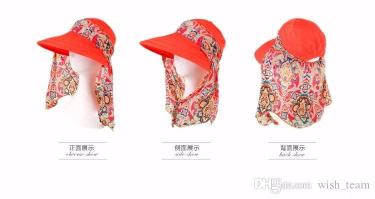 Moda Yüz Koruma Güneş Şapka Yaz Katlanabilir Şapka Kadınlar Anti-UV Geniş Big Brim Ayarlanabilir Kadınlar Şapka Yaz İçin