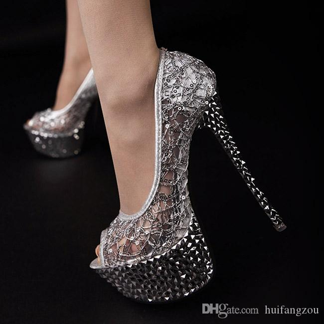 Newest Sexy 2017 Wedding Shoes Peep Toe Net Sequins Cut Outs Stiletto For Summer Crystal Bridal Heels