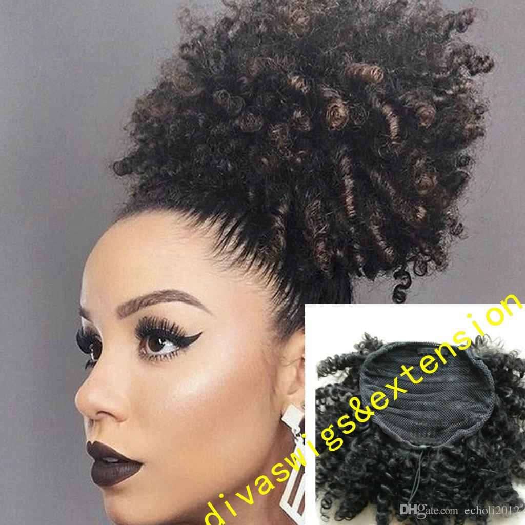 Peruvian remy Kinky curly ponytail hairpiece Drawstring natural puff afro ponytail extension Fashion women hairstyle 100g-160g