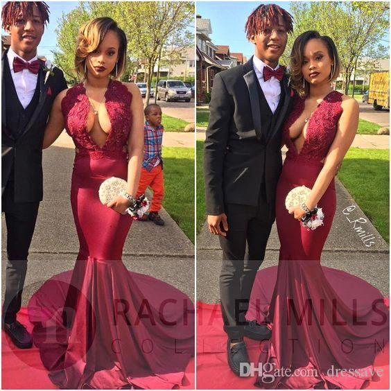 African Sexy Burgundy Mermaid Prom Dresses Deep V Neck Sleeveless ...