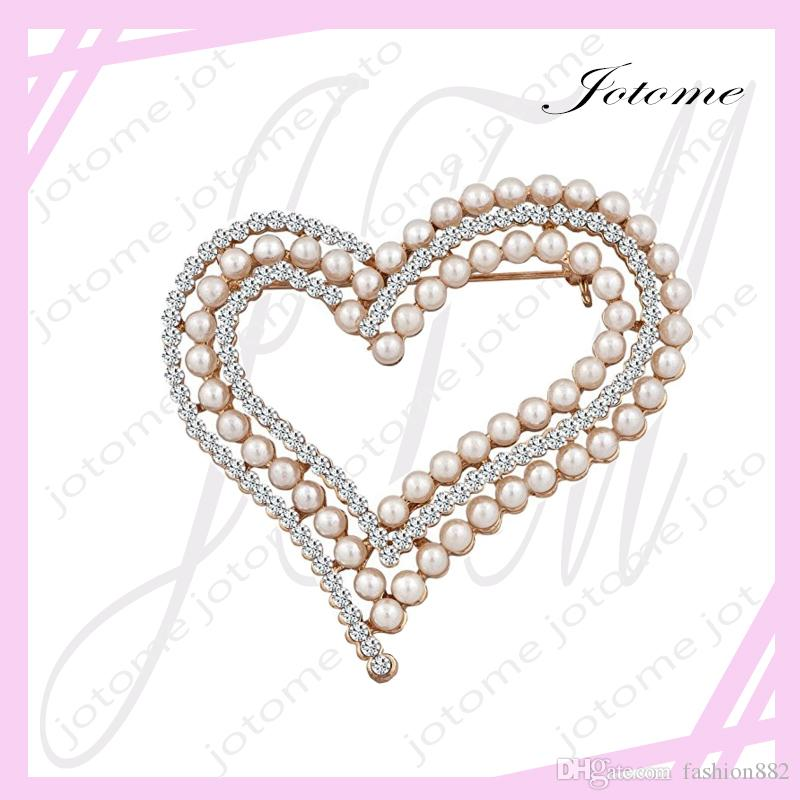2017 China Wholesale Factory Direct TOP Design Pearl Heart Brooch White Crystal Rhinestone Brooches Pins