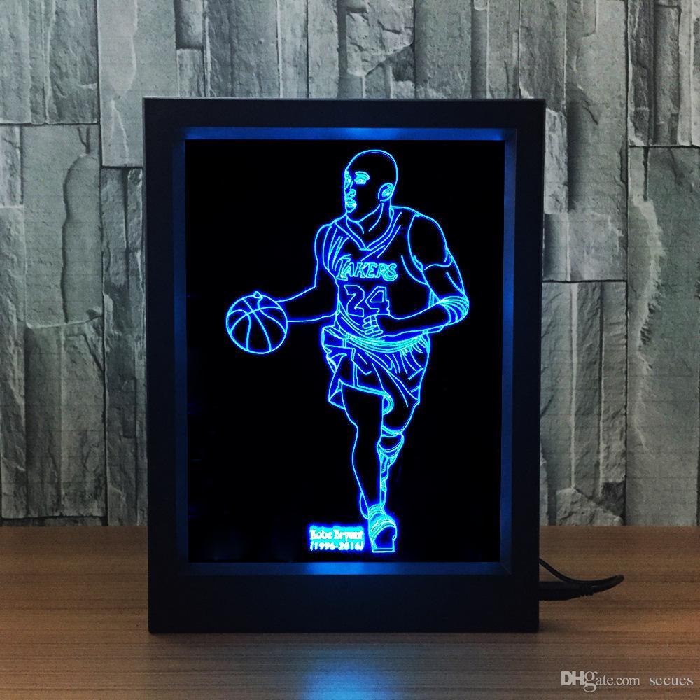 3D Kobe LED Photo Frame IR Remote 7 RGB Lights Battery or DC 5V Factory Wholesale Dropship