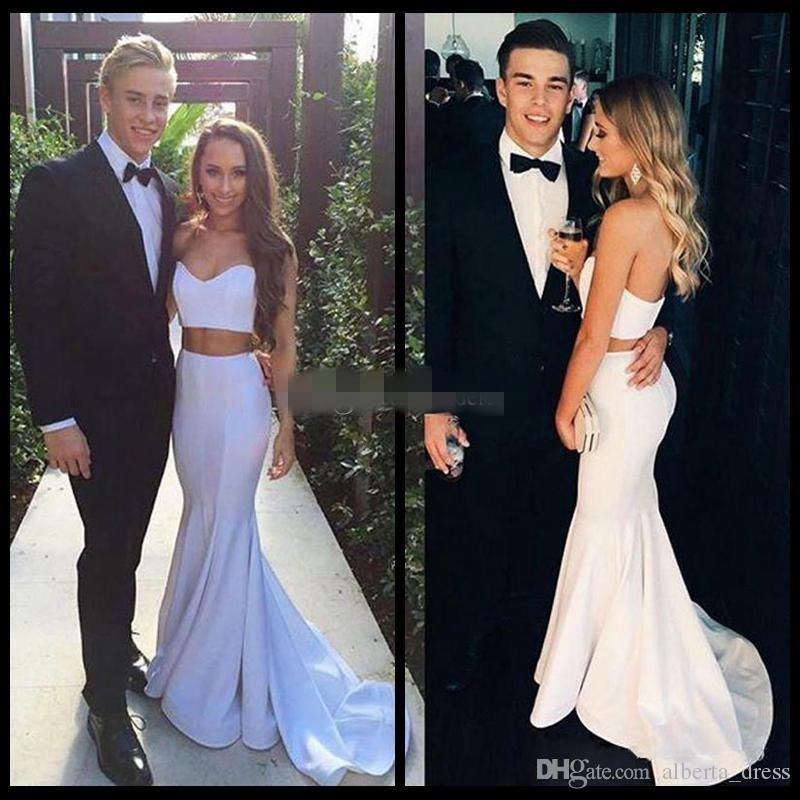 Modern White Two Pieces Mermaid Prom Dress 2017 Sleeveless Sweetheart Sweep Train Simple Formal Evening Gowns Vestido De Festa