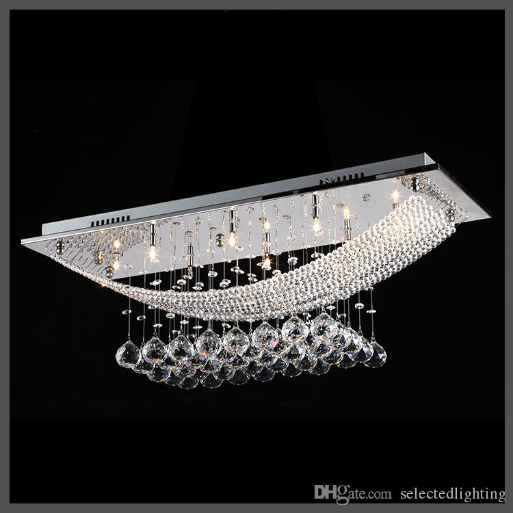 Rectangle Crystal Rain Drop Chandelier Lamps Modern