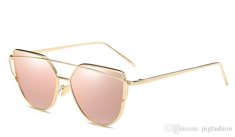 ac01adc2aa4 Hot Fashion Cat Eye Sunglasses Women Brand Designer Twin Beam Mirror Lens  Sun Glasses Rose Gold Metal UV400 Lentes De Sol Hombre Full Frame John  Lennon ...