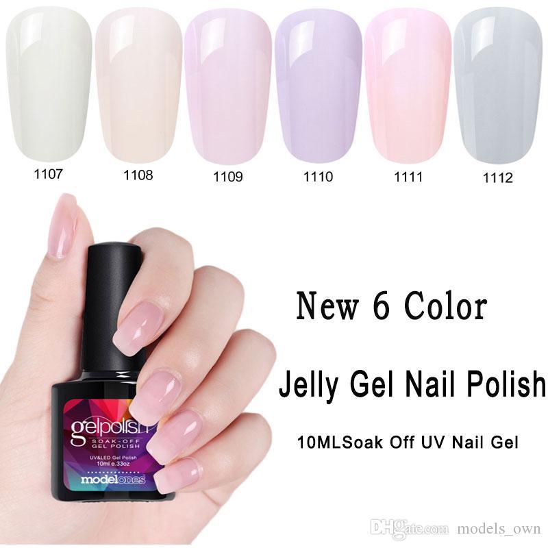 Modelones 10ML Transparent Jelly UV Nail Gel Polish Soak Off Pink ...