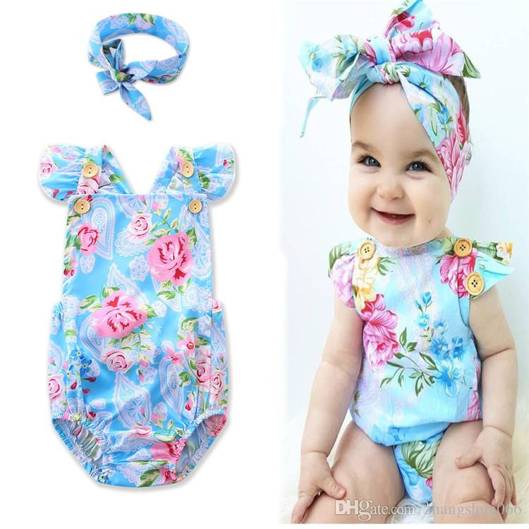 03d6d7feff8d 2018 Baby Rompers Boys Girls Toddler Onesies Clothing Summer Sleeveless  Infant Cotton Romper INS Printed Babies Bodysuit Boutique Clothes  Jumpsuits Rompers ...