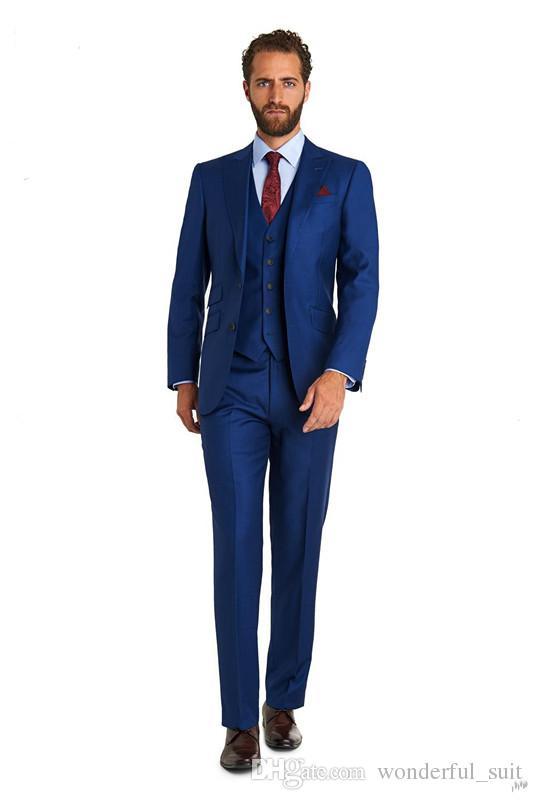 2017 trajes de boda para hombre hechos a medida tres piezas tux muesca solapa Novio Tuxedos noche Boda mejor hombre trajes para boda abrigo + pantalones + chaleco