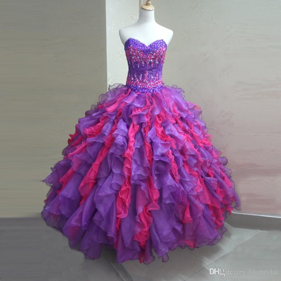 Incredibile abito bicolore Quinceanera Ruffles Organza Ball Gown Sweetheart Vestidos de 15 anos 2019 Ultimi Cristalli Perline Quinceanera Abiti