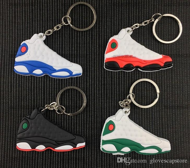 Mix Cute Silicone basketball shoes Key Chain aj13 Sneaker Keychain Kids Key Rings Key Holder for Woman and Girl Christmas Gifts