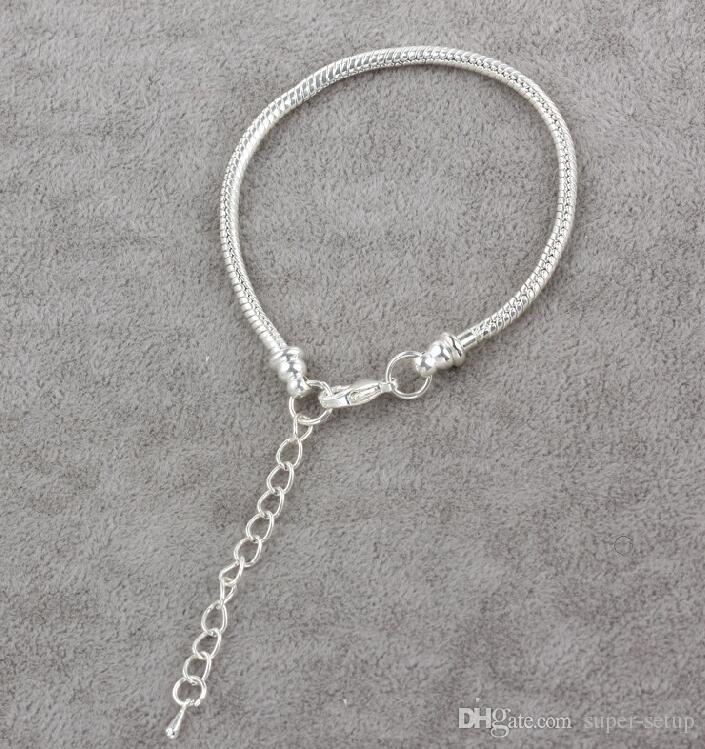 Darmowa Wysyłka Klasyczne DIY 925 Silver Plating Snake Chain Bransoletki Fit Europen Charms Koraliki Homar Zapięcie Bransoletki Akcesoria Biżuteria 100 sztuk