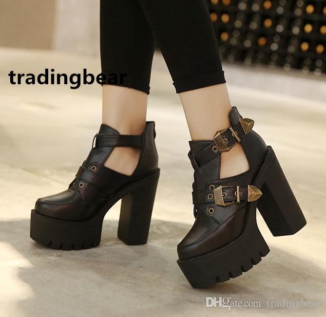 0dcfaed85c3 Women thick high heels shoes black PU leather hollow out metal chain buckle  ankle bootie size 35 to 39