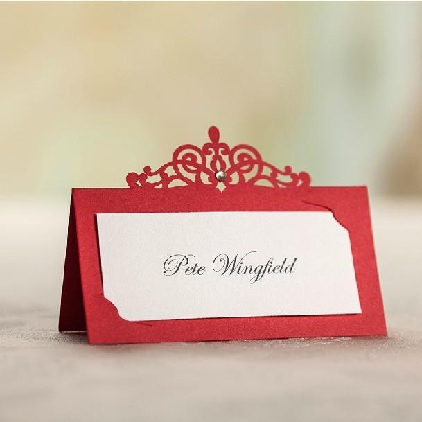 Grosshandel Grosshandels Blau Rot Laser Cut Tischkarten Hochzeit