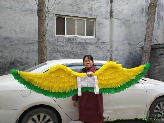 adults charming fairy wings yellow angel feather wings fit for T stage show Mall decoration creative shooting props EMS