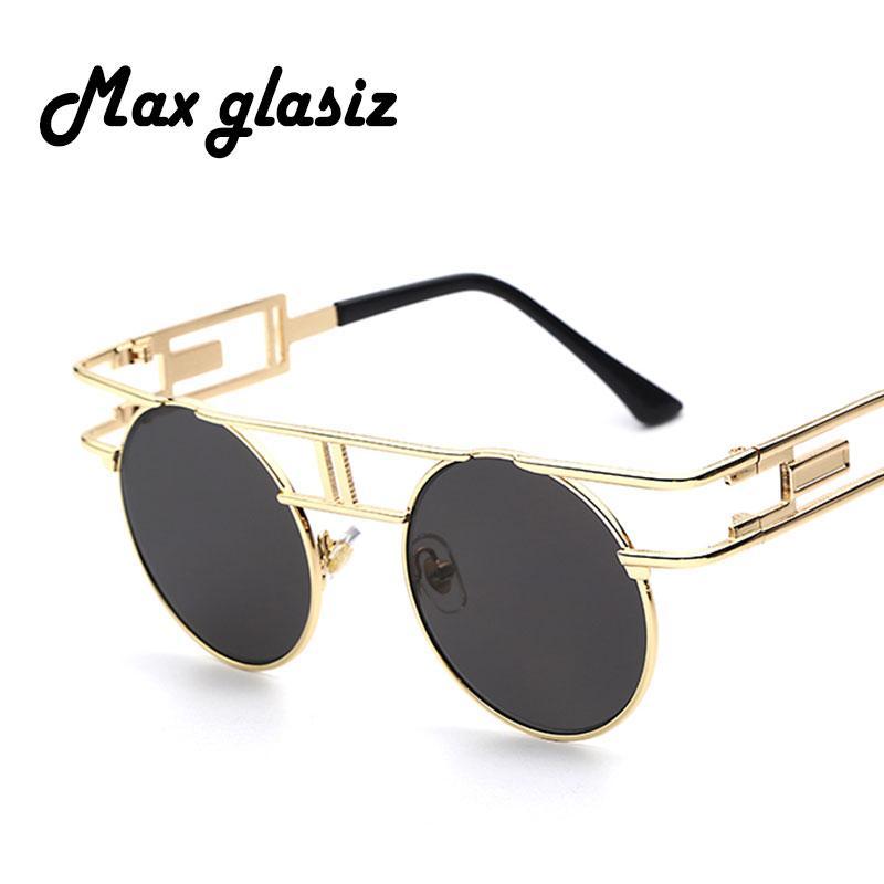 46aa28110bf83 Wholesale- Steampunk Round Sunglasses Women Men Coating Sun Glass ...