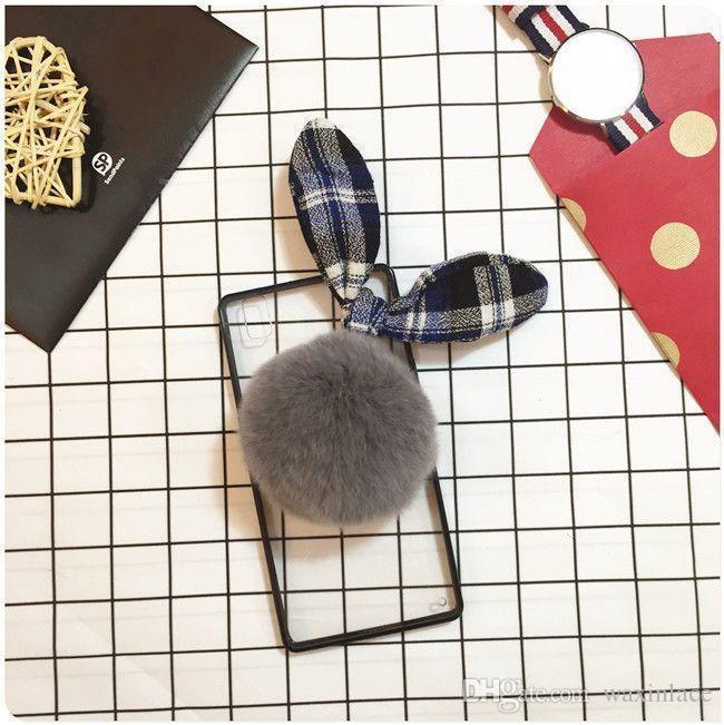 Coque capa de pelúcia caso bola orelha de coelho transparente acylic phone case para vivo x9 x7 x6 além de v3max v3 y55 y37