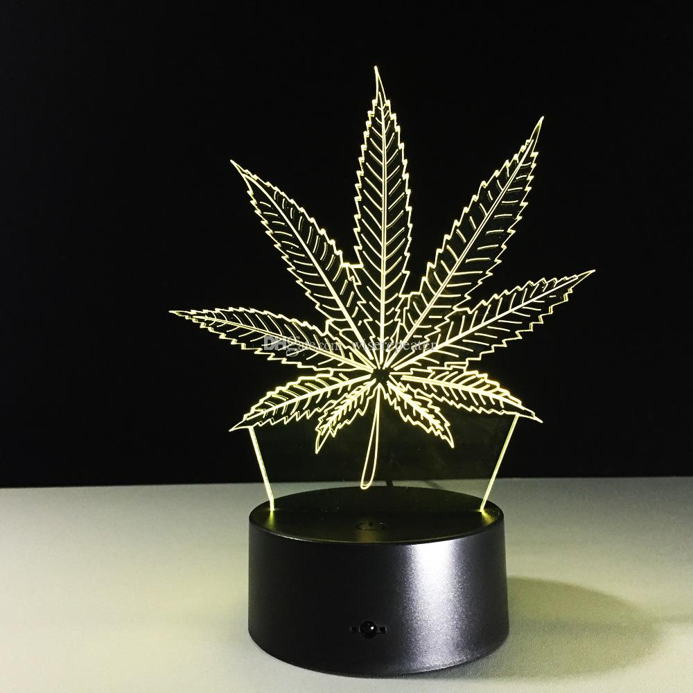 Leaf 3D Illusion LED Lamp Night Light 7 RGB Colorful USB Powered 5th Battery Bin Touch Button Dropshipping Gift Box