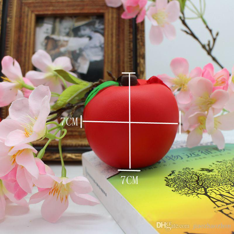 New Arrival Slow Rising 7CM Red Fashion Cute Fund Apple Squishy Straps Bread Green Cute Phone Straps Charms Pendant Bread Kids Toy