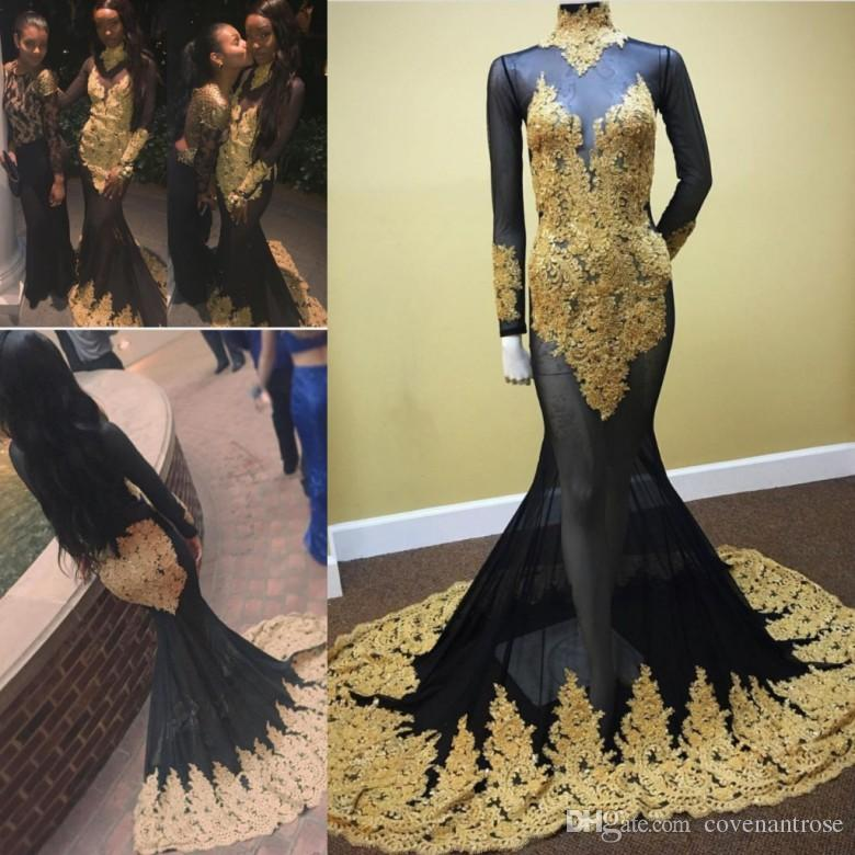 Gold And Black Mermaid Prom Dresses 2017 Long Sleeve High Neck Tulle