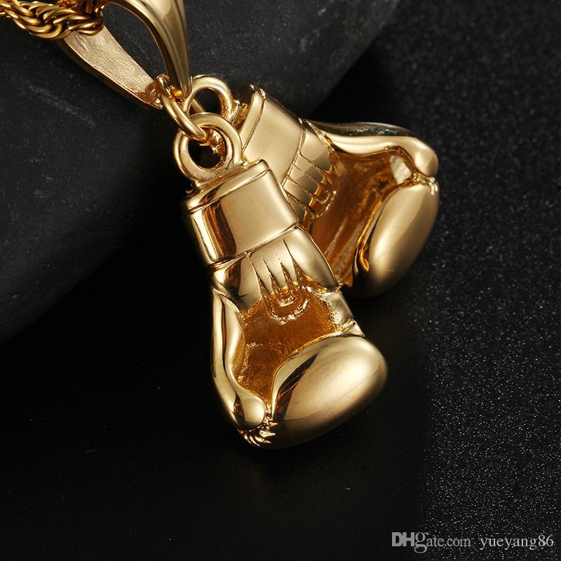 Regali di charme Gold Biker in acciaio inox Doppi guanti da boxe Ciondolo Fitness da uomo Collana 4mm 22