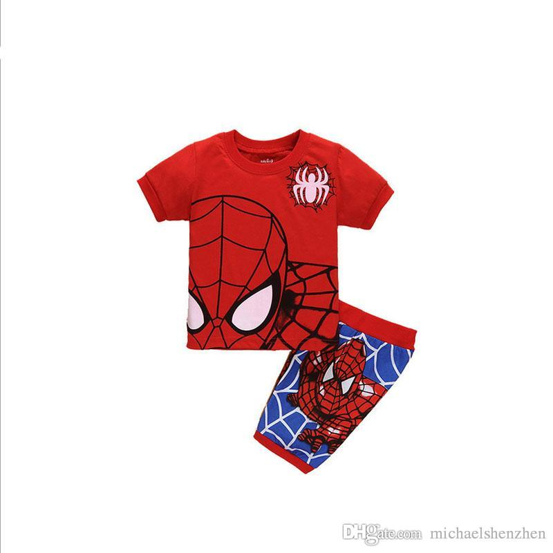 Garçons spiderman Pyjamas costumes 13 Enfants de conception Avengers Captain America Iron Man T-shirt à manches courtes + shorts costume B001