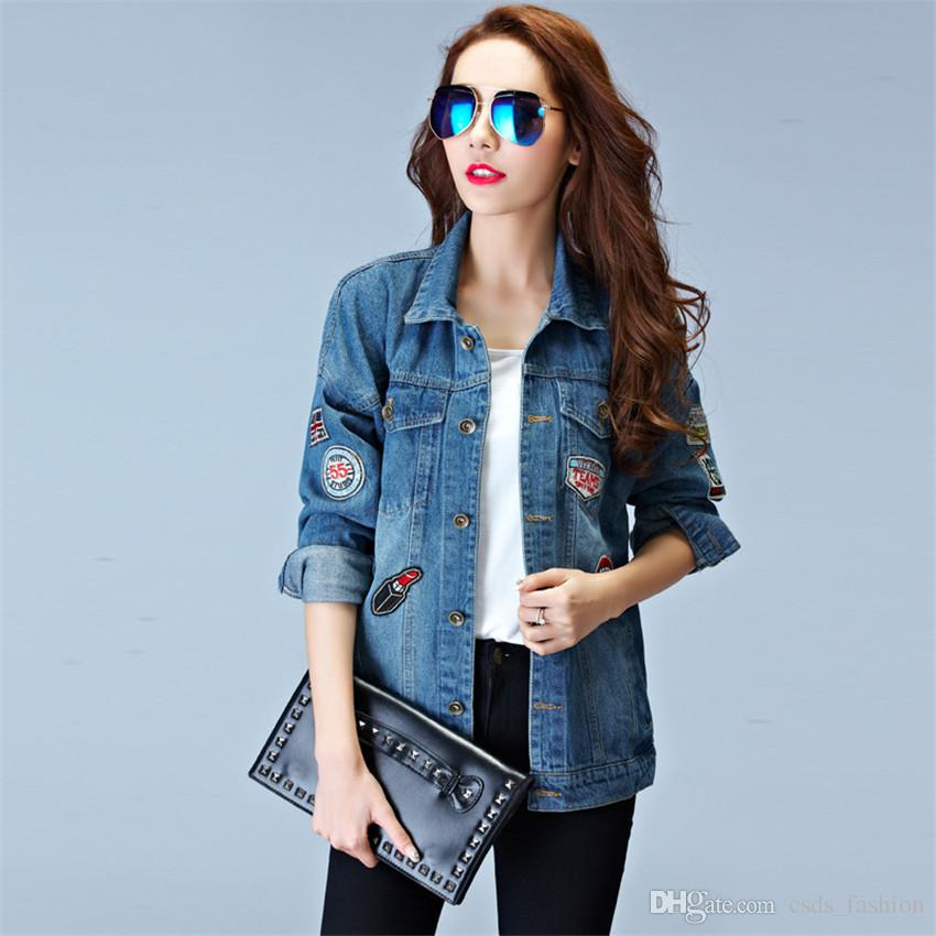 New Spring Women Denim Jeans Jacket Coat Vintage Slim Fit Tops ...