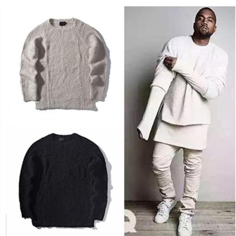 2019 Kanye West Oversize Knitted Sweater Men Hip Hop Streetwear