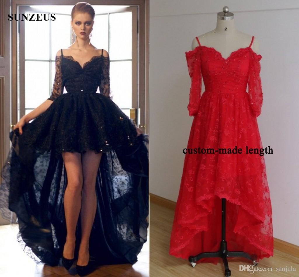 High Low Black Prom Dresses Lace Party Dress Short Front Long Back ...