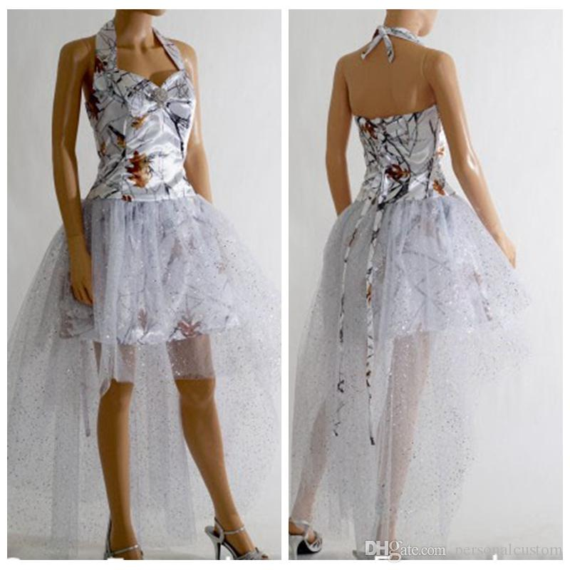 Cinderella Wedding Dress Up Games Online White Camo: Halter White Camo High Low Prom Dress Lace Up Back Satin