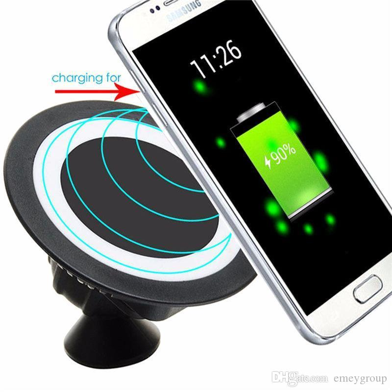 Universal Car Wireless Qi Standard Charger Dock 360 Degree Phone Mount Holder Charging Pad For Samsung S6 S7 edge s8 note8 iphone x 8/8plus