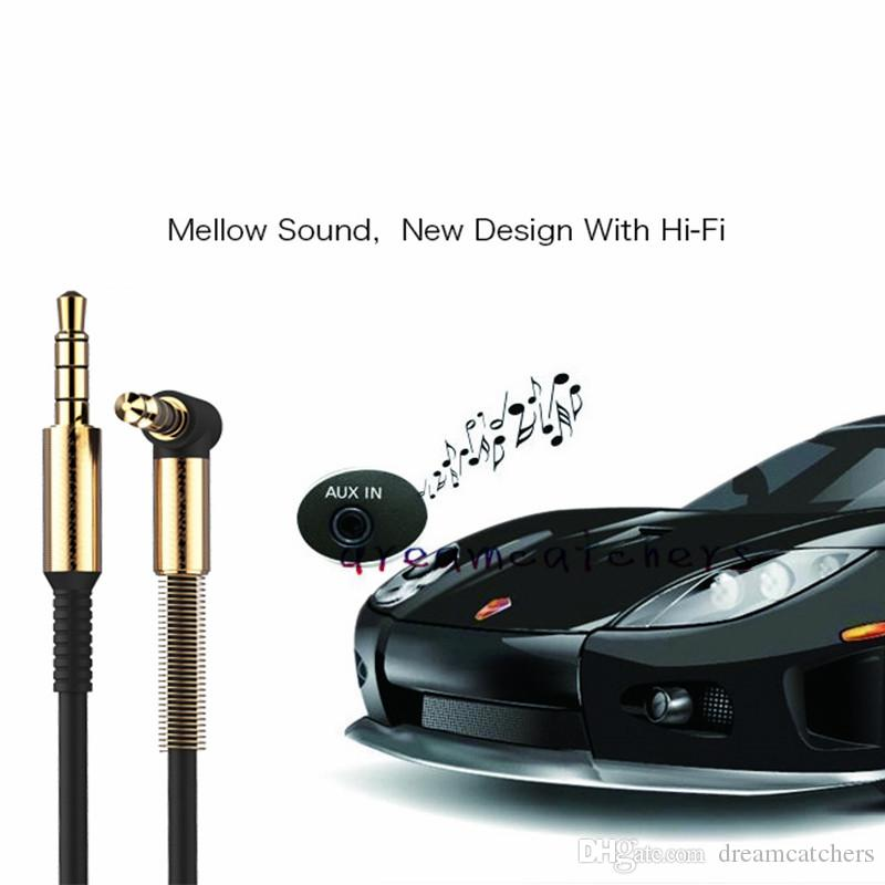 3.5MM AUX Aluminium 1M 3FT Bend Audio Cable 90 Degree Right Angle Auxiliary Male to Male Extension Cord for iphone MP3 Speaker Computer