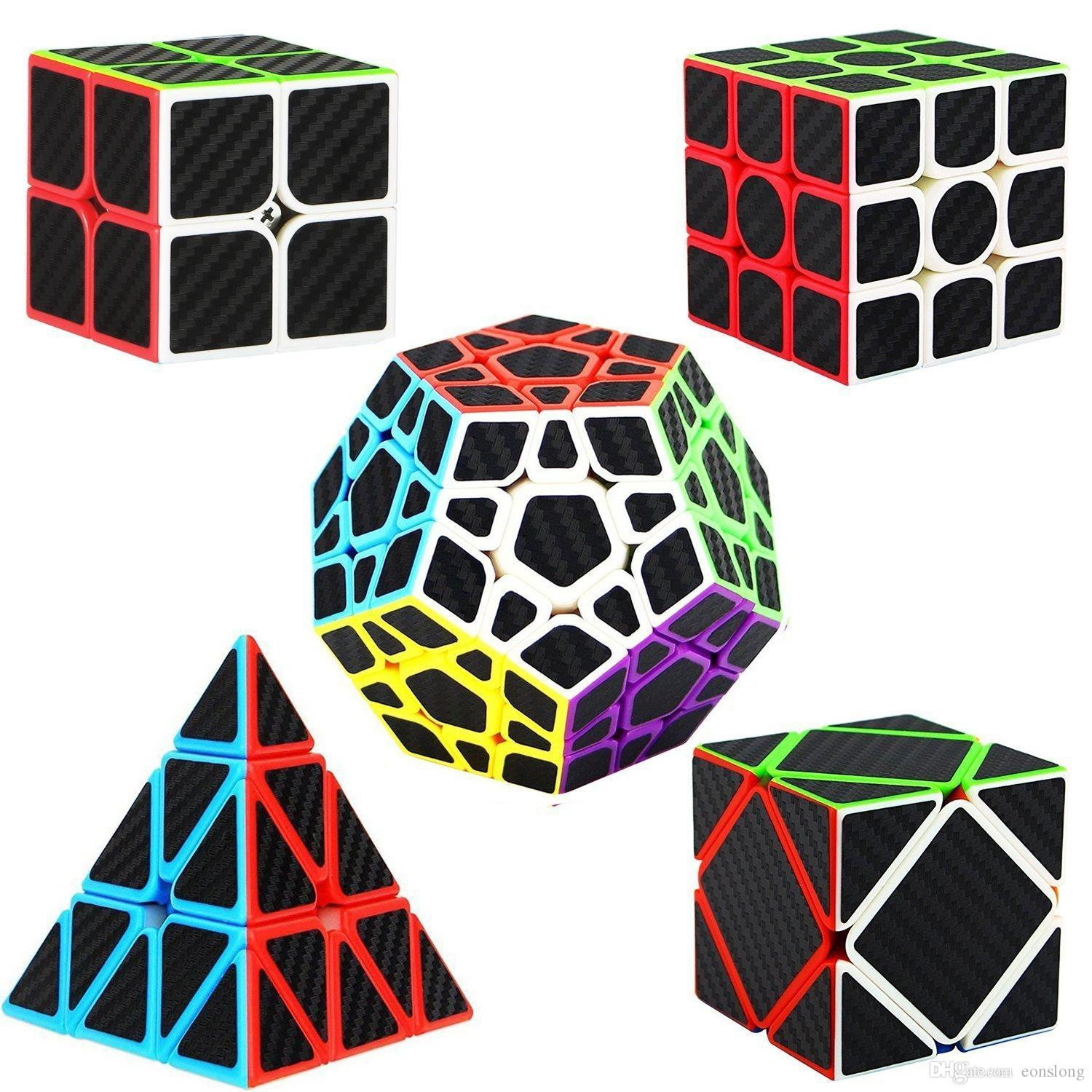 Speed Cube 2x2 3x3 4x4 Pyraminx Megaminx Skewb Carbon Fiber Sticker Magic Cube Puzzle Toy for Kids Intelligence Development