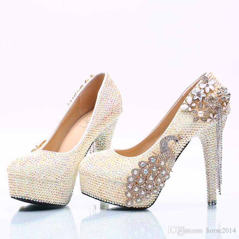 Wunderschöne Weiß AB Strass Frauen High Heel Party Prom Schuhe Phoenix Kristall Braut Hochzeit Schuhe Abschlussfeier Pumpen