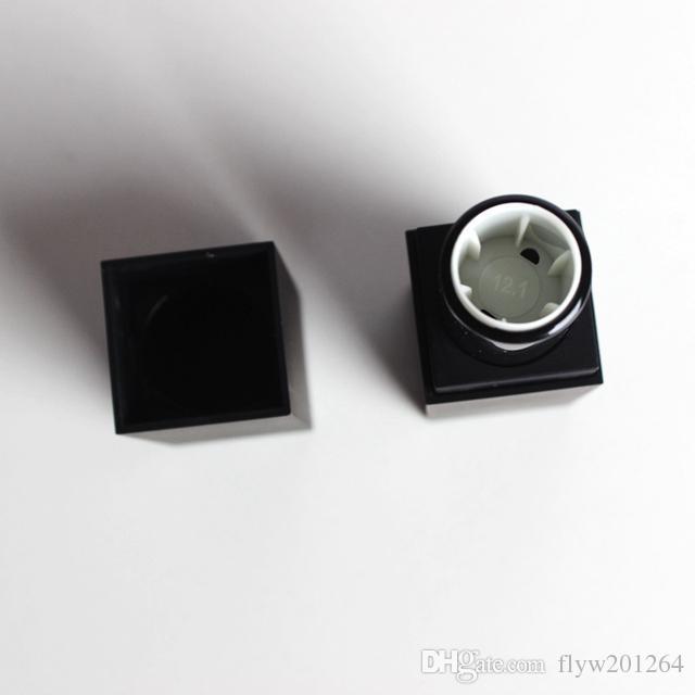 100 pçs / lote vazio tubo de batom de plástico de alta qualidade, preto outter forma quadrada interior diy batom tubo, copo Interno dia 12mm