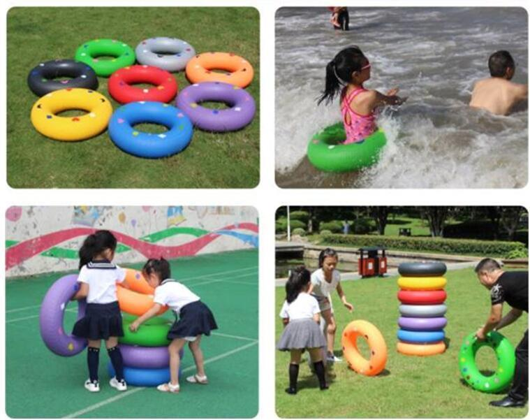 rolling tire race game inflatable tire kids children kindergarten
