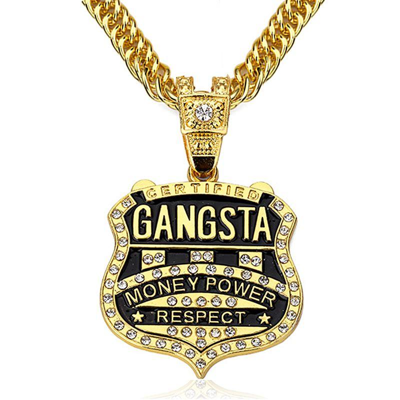 f5a11e23eb109 90cm Chain GANGSTA Pendant Necklace Men Jewelry Gold Silver Plated Music  Rock Hip Hop Rappers Necklaces Mens jewellery